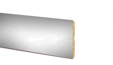 Цоколь ПВХ 100мм, длина 4м, алюминий гладкий