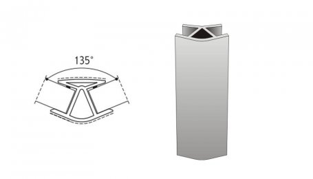 Соединительный элемент, 100мм 135° для цоколя, алюминий