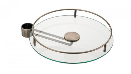 Полка боковая стеклянная с релингом, 350 мм, старая бронза