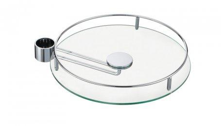 Полка боковая стеклянная с релингом, 350 мм, хром
