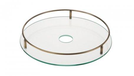 Полка центральная стеклянная с релингом, 350 мм, старая бронза