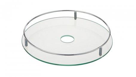 Полка центральная стеклянная с релингом, 350 мм, хром