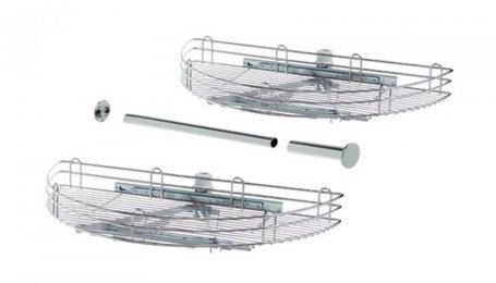 Комплект поворотно-выдвижных корзин в угловой шкаф шириной 450 мм, хром