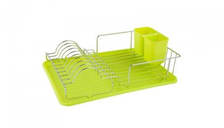 Посудосушитель настольный с поддоном, хром/зеленый