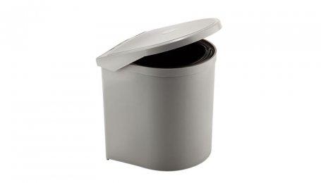 Ведро для мусора круглое серое покрытие