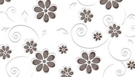 Стекло окрашенное с узором Цветы трюфель