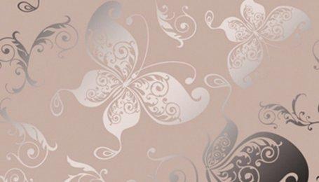 Зеркало декоративное с узором Бабочки розовое